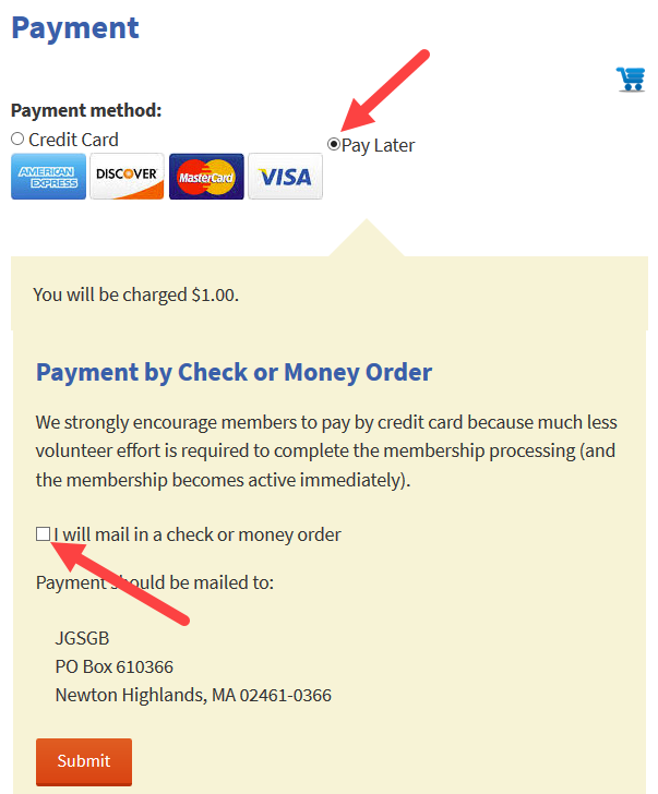 Payment by check screen